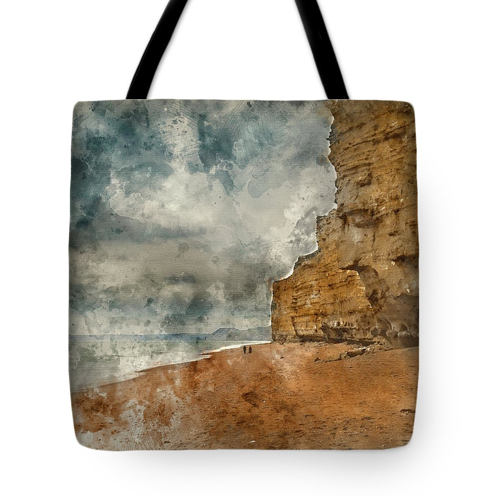 Burton Bradstock Tote Bag featuring the photograph Digital Watercolour Painting Of Beautiful Vibrant Sunset Landsca by Matthew Gibson