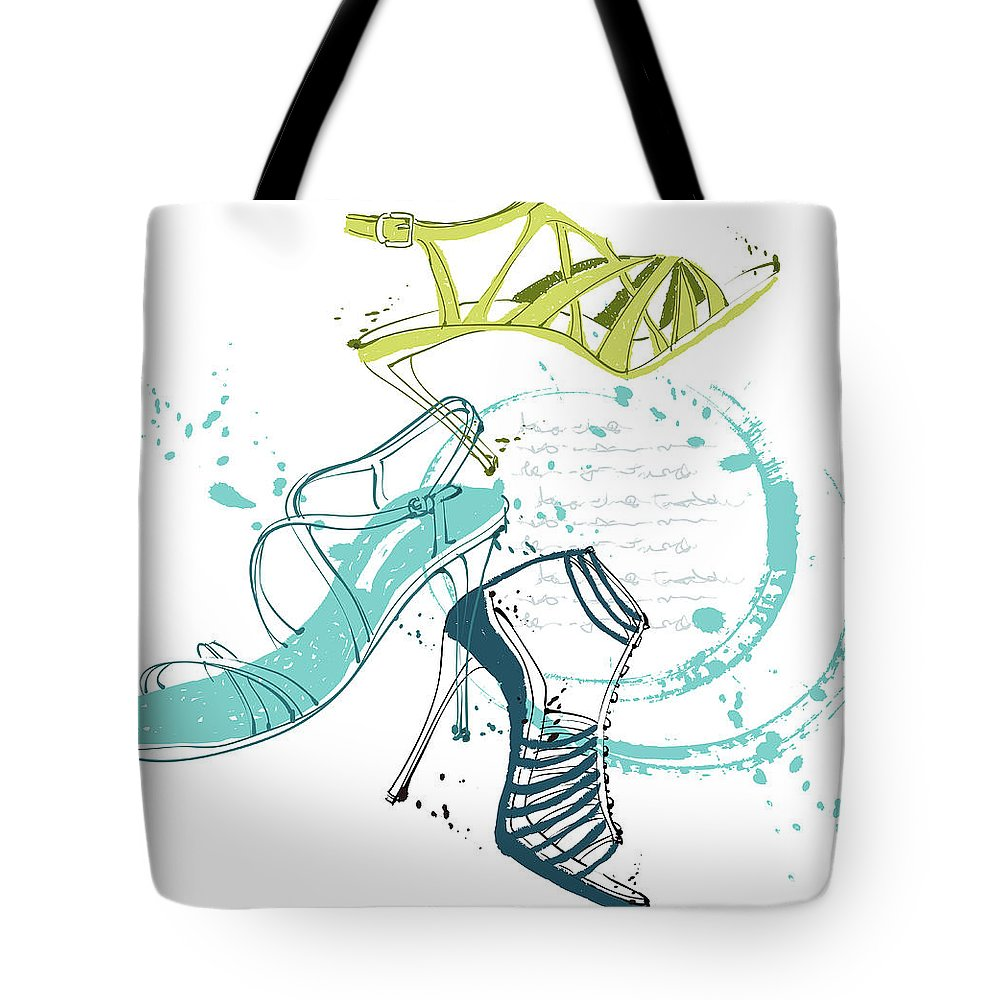 White Background Tote Bag featuring the digital art Feminine Shoes by Eastnine Inc.