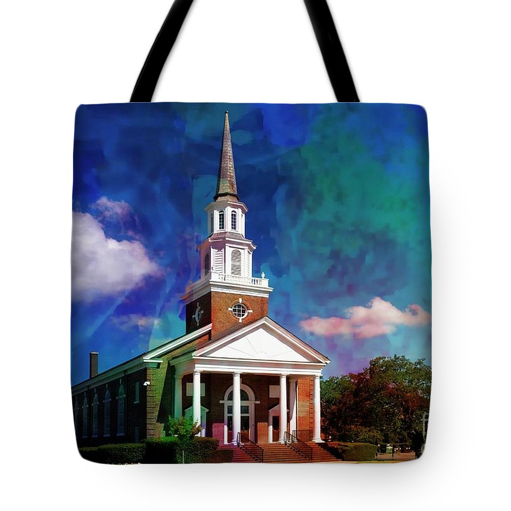 First Baptist Church Tote Bag featuring the mixed media First Baptist Church Myrtle Beach S C by Bob Pardue