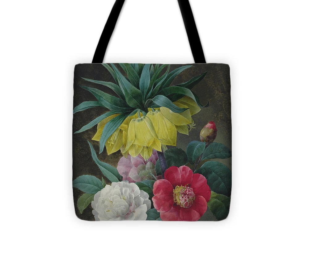 Redoute Tote Bag featuring the painting Four Peonies And A Crown Imperial by Pierre-Joseph Redoute
