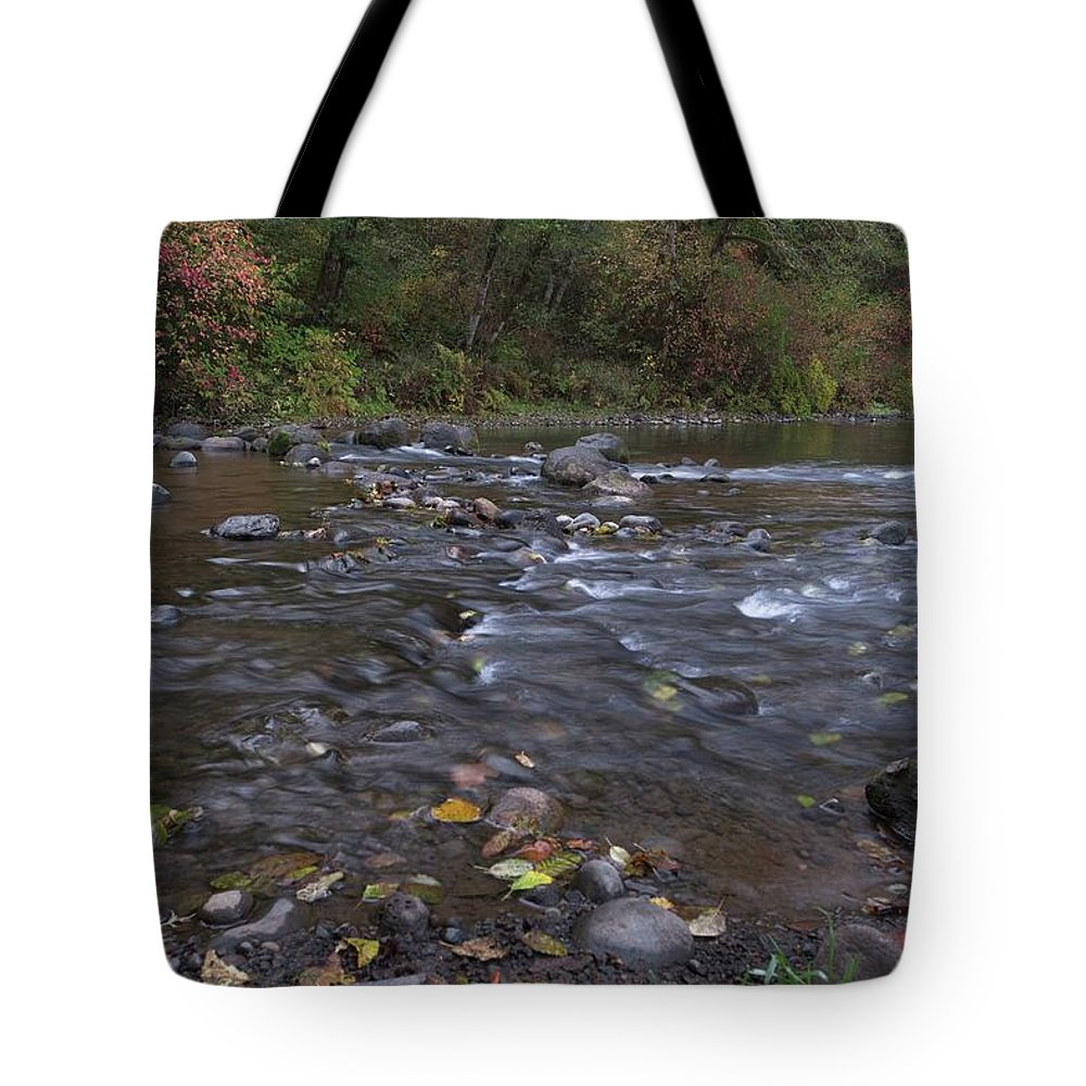 Long Tote Bag featuring the photograph Long Exposure Photographs Of Rolling River With Fall Foliage by Daryl Robbins