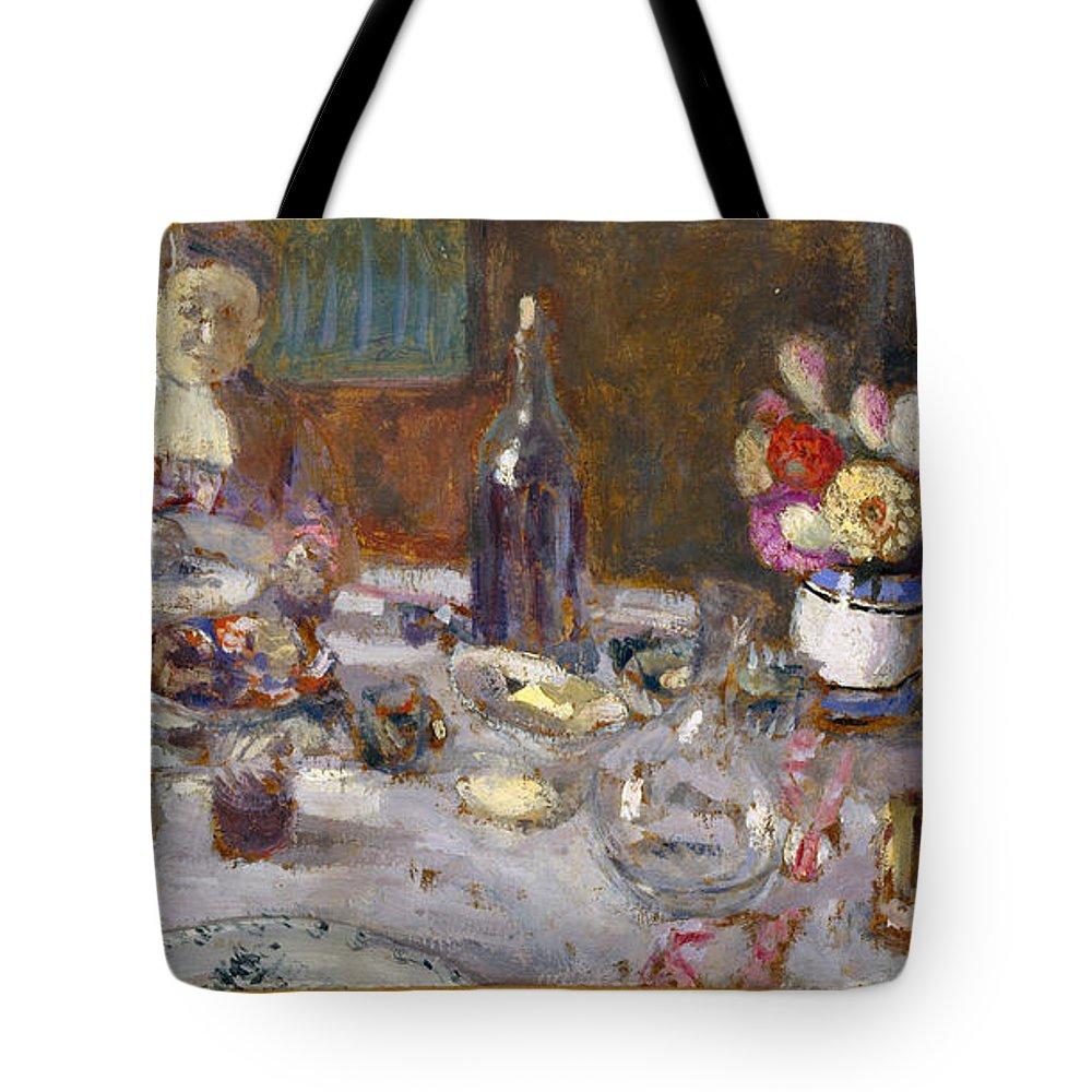 Edouard Vuillard Tote Bag featuring the painting Luncheon by Edouard Vuillard