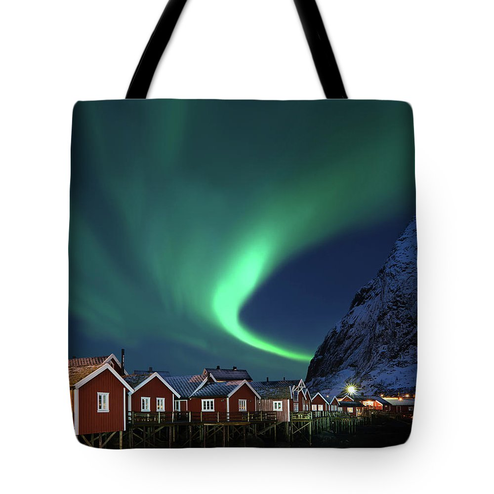 Scenics Tote Bag featuring the photograph Northern Lights - Aurora Borealis Over by Relaxfoto.de