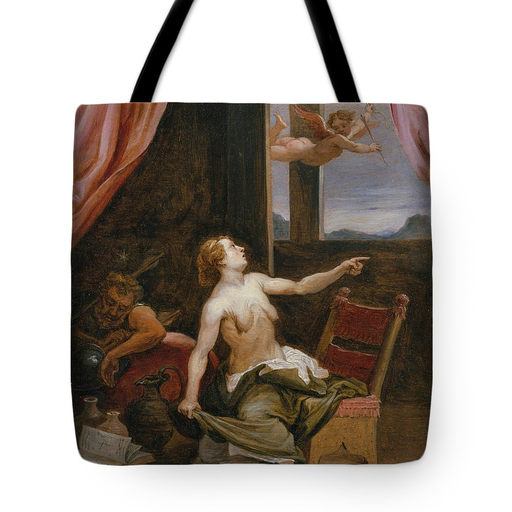 David Teniers The Younger Tote Bag featuring the painting Old Age In Search Of Youth by David Teniers the Younger