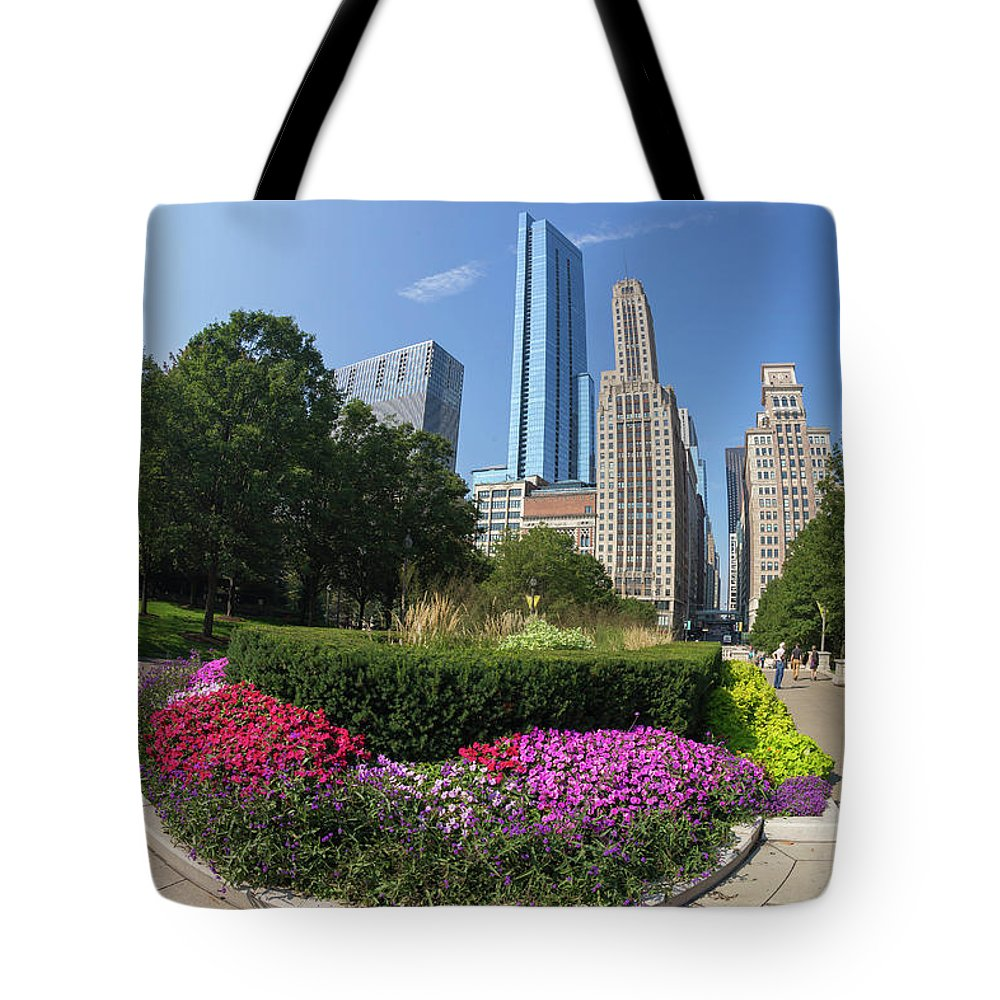 America Tote Bag featuring the photograph Summer Flowers In Bloom, Millennium Park, Chicago City Center, I by Peter Barritt
