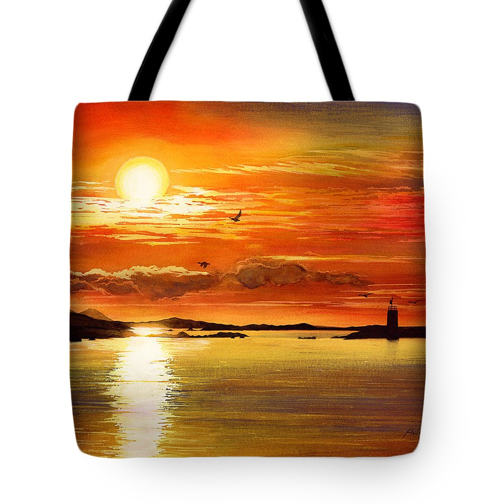 Sunset Tote Bag featuring the painting Sunset Lake by Hailey E Herrera