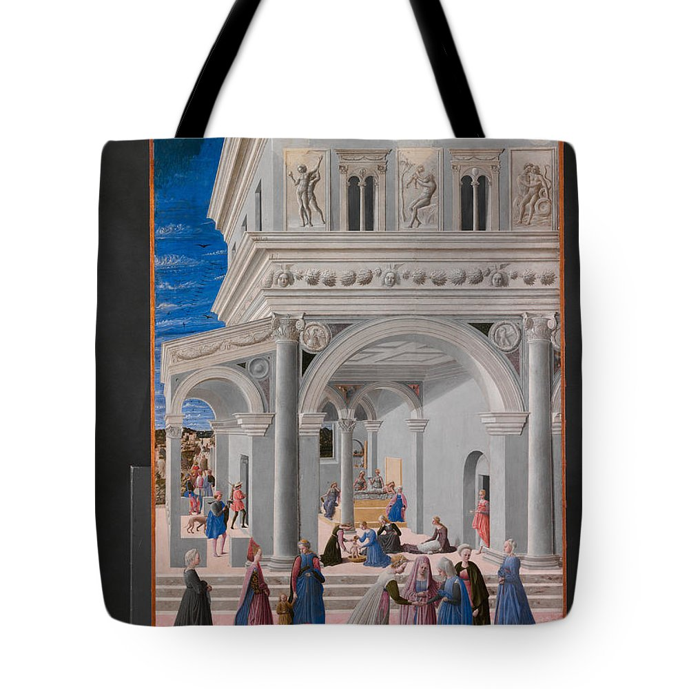 Fra Carnevale Tote Bag featuring the painting The Birth Of The Virgin by Fra Carnevale