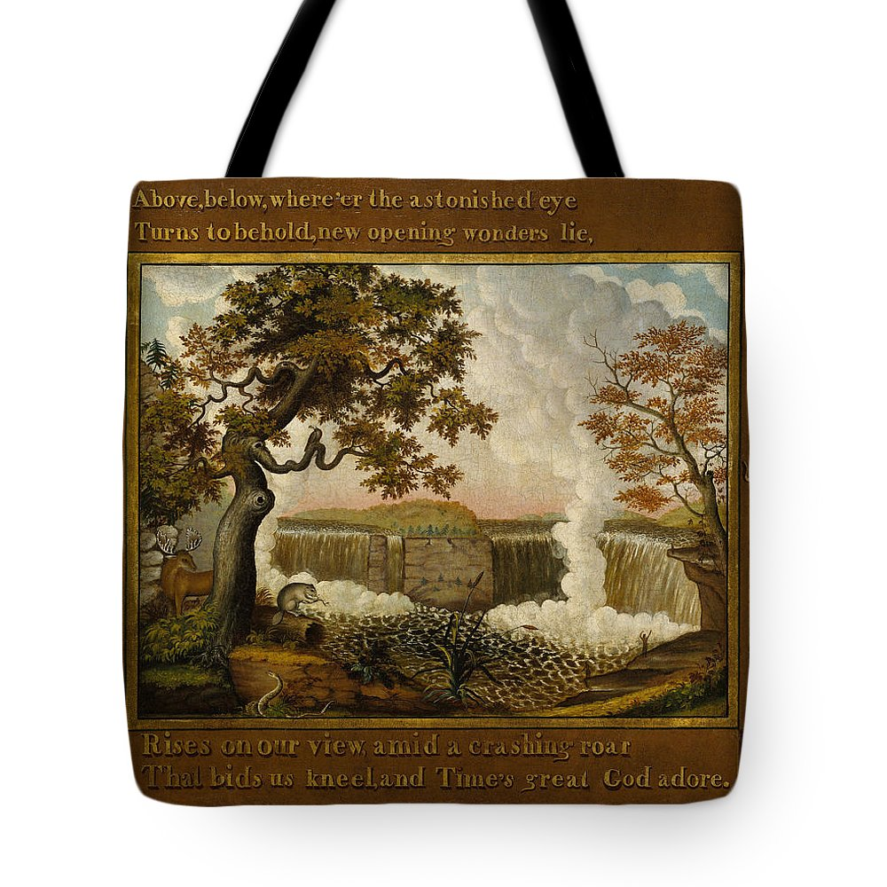 Edward Hicks Tote Bag featuring the painting The Falls Of Niagara by Edward Hicks