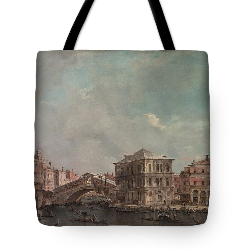 Francesco Guardi Tote Bag featuring the painting The Grand Canal Above The Rialto by Francesco Guardi