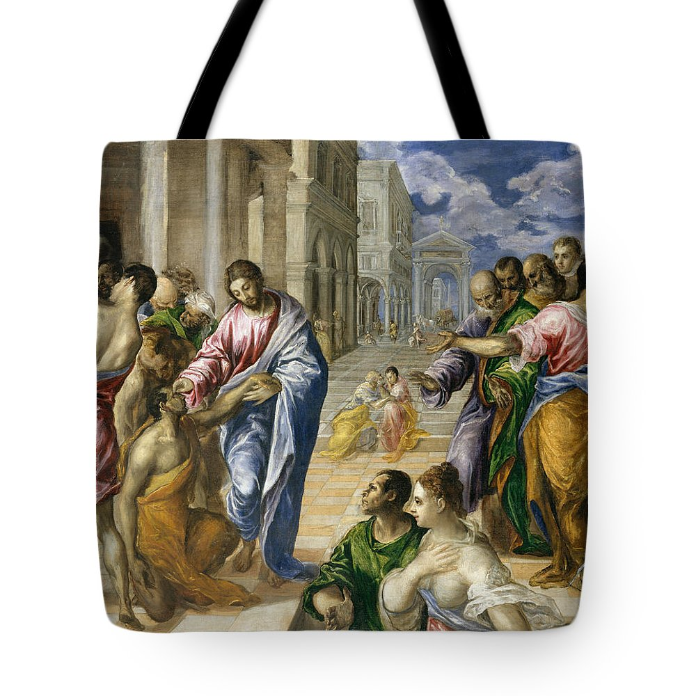 El Greco Tote Bag featuring the painting The Miracle Of Christ Healing The Blind by El Greco