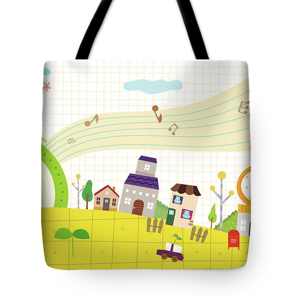 Clock Tower Tote Bag featuring the digital art View Of Town by Eastnine Inc.