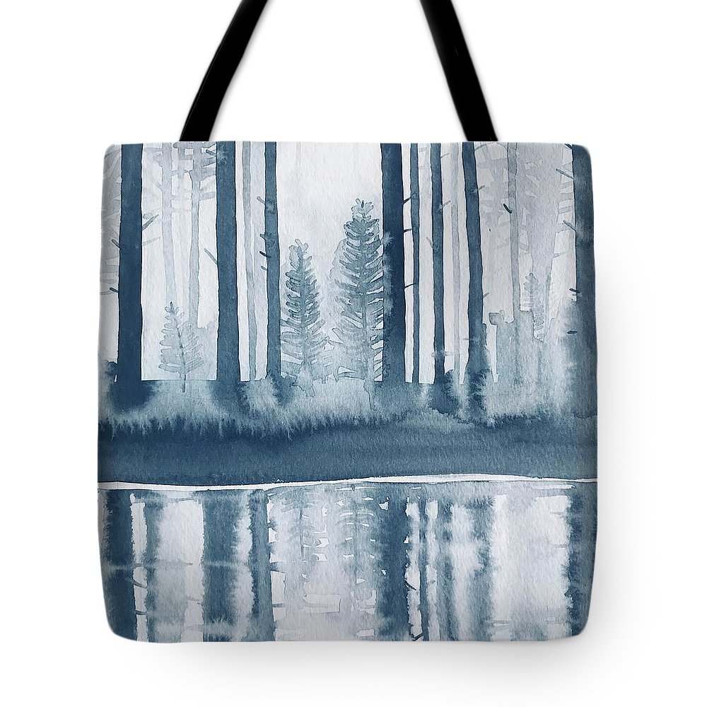 Reflections Tote Bag featuring the painting Winter Trees on A Pool by Luisa Millicent