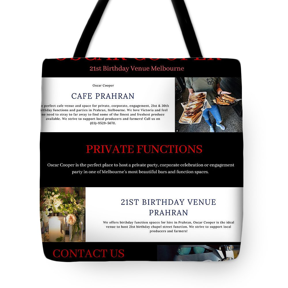 Birthday Chapel Street Tote Bag featuring the pastel 21st Birthday Venue Melbourne by Oscar Cooper