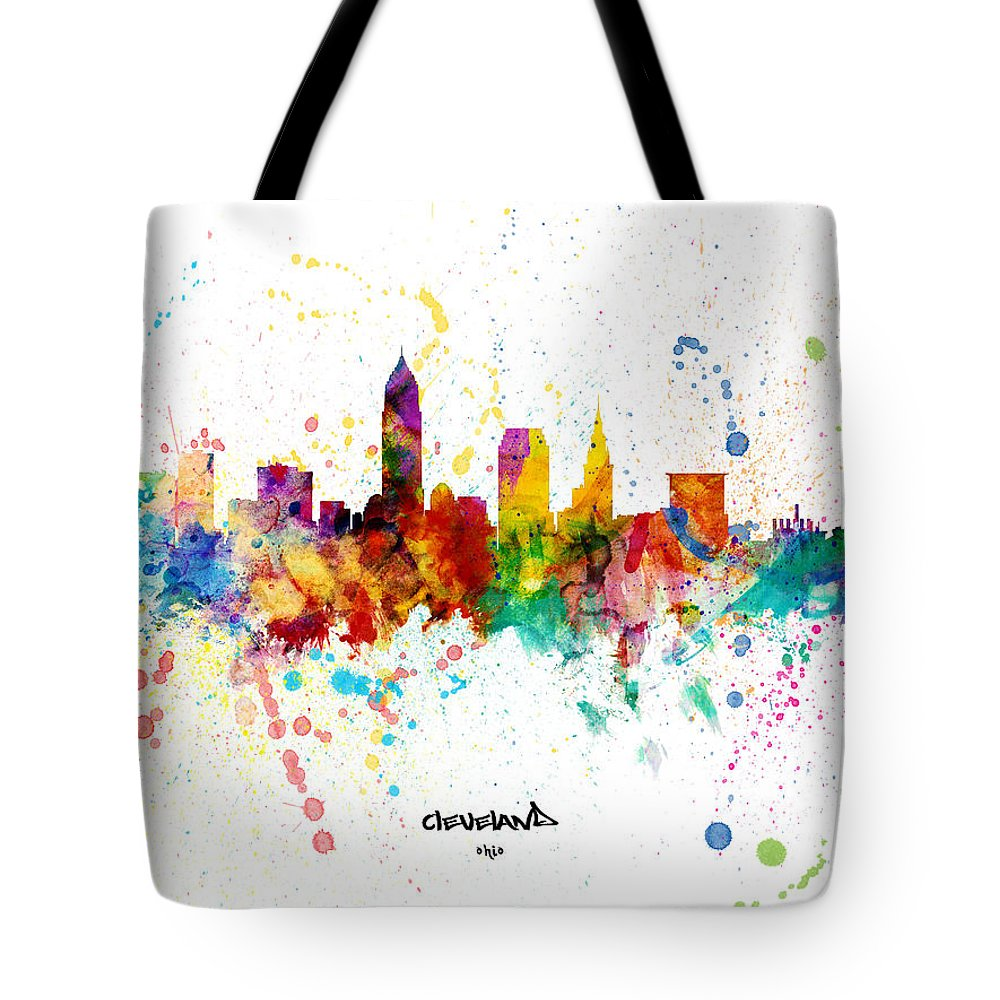 Cleveland Tote Bag featuring the digital art Cleveland Ohio Skyline by Michael Tompsett