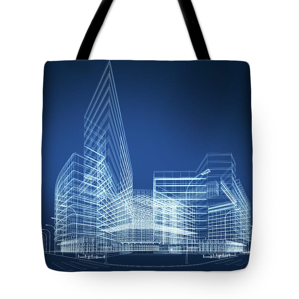 Three Dimensional Tote Bag featuring the photograph 3d Architecture Abstract by Nadla