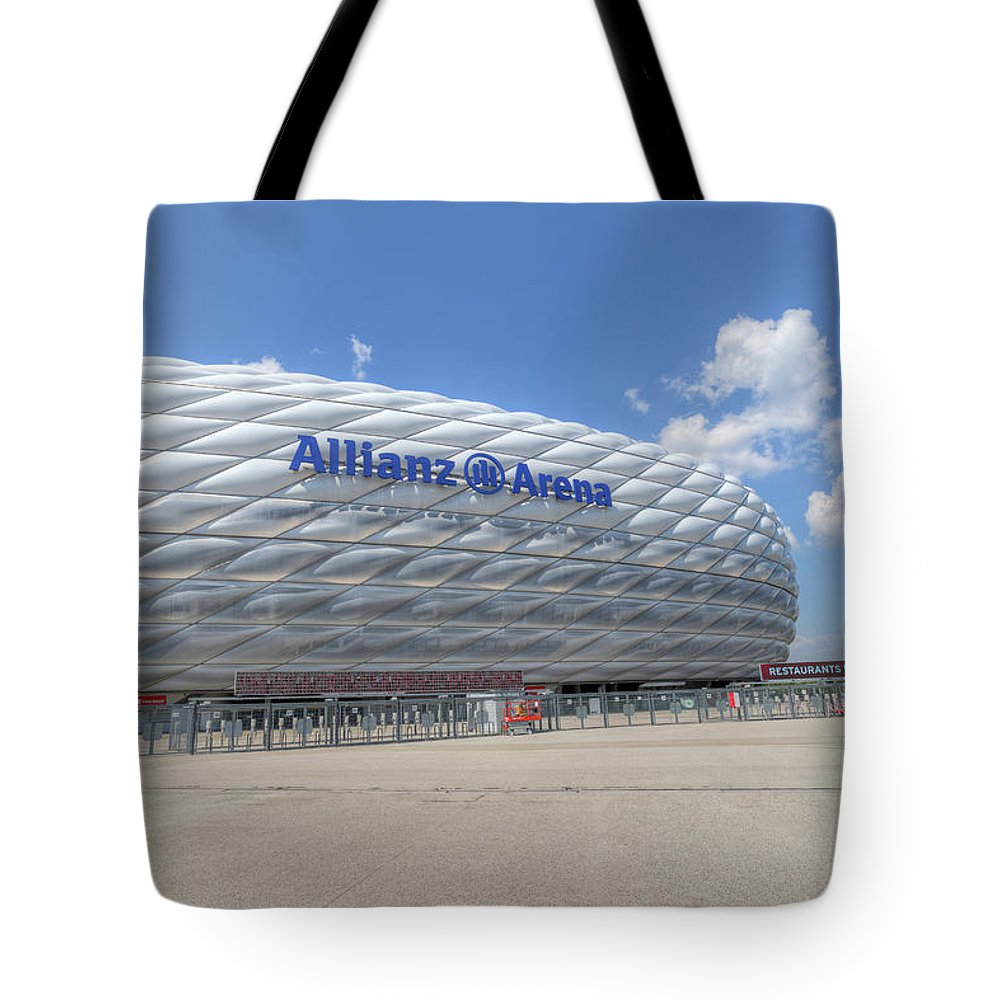 Allianz Arena Tote Bag featuring the photograph Allianz Arena Munich by David Pyatt