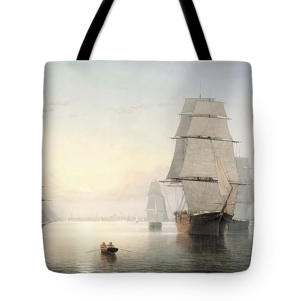 Fitz Henry Lane Tote Bag featuring the painting Boston Harbor Sunset by Fitz Henry Lane