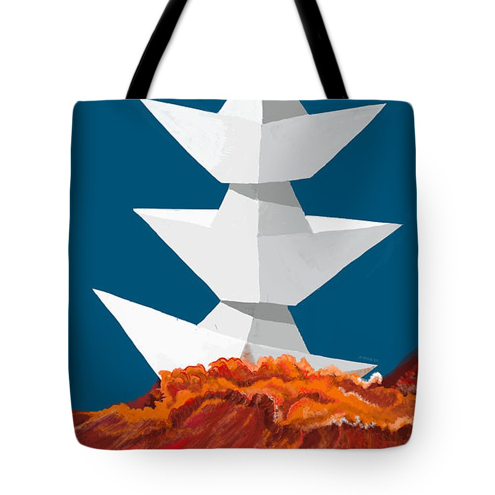 Paper Boats Tote Bag featuring the digital art 3 Caravels by Juan Carlos Rios