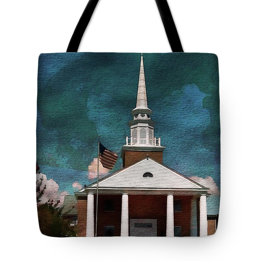 First Baptist Church Tote Bag featuring the mixed media First Baptist Church North Myrtle Beach S C by Bob Pardue