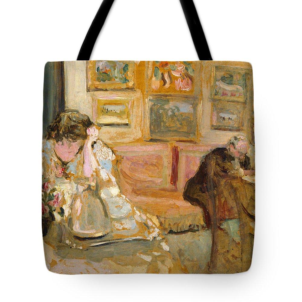 Edouard Vuillard Tote Bag featuring the painting Jos And Lucie Hessel In The Small Salon Rue De Rivoli by Edouard Vuillard