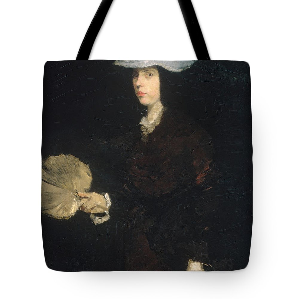Frank Duveneck Tote Bag featuring the painting Lady With Fan by Frank Duveneck