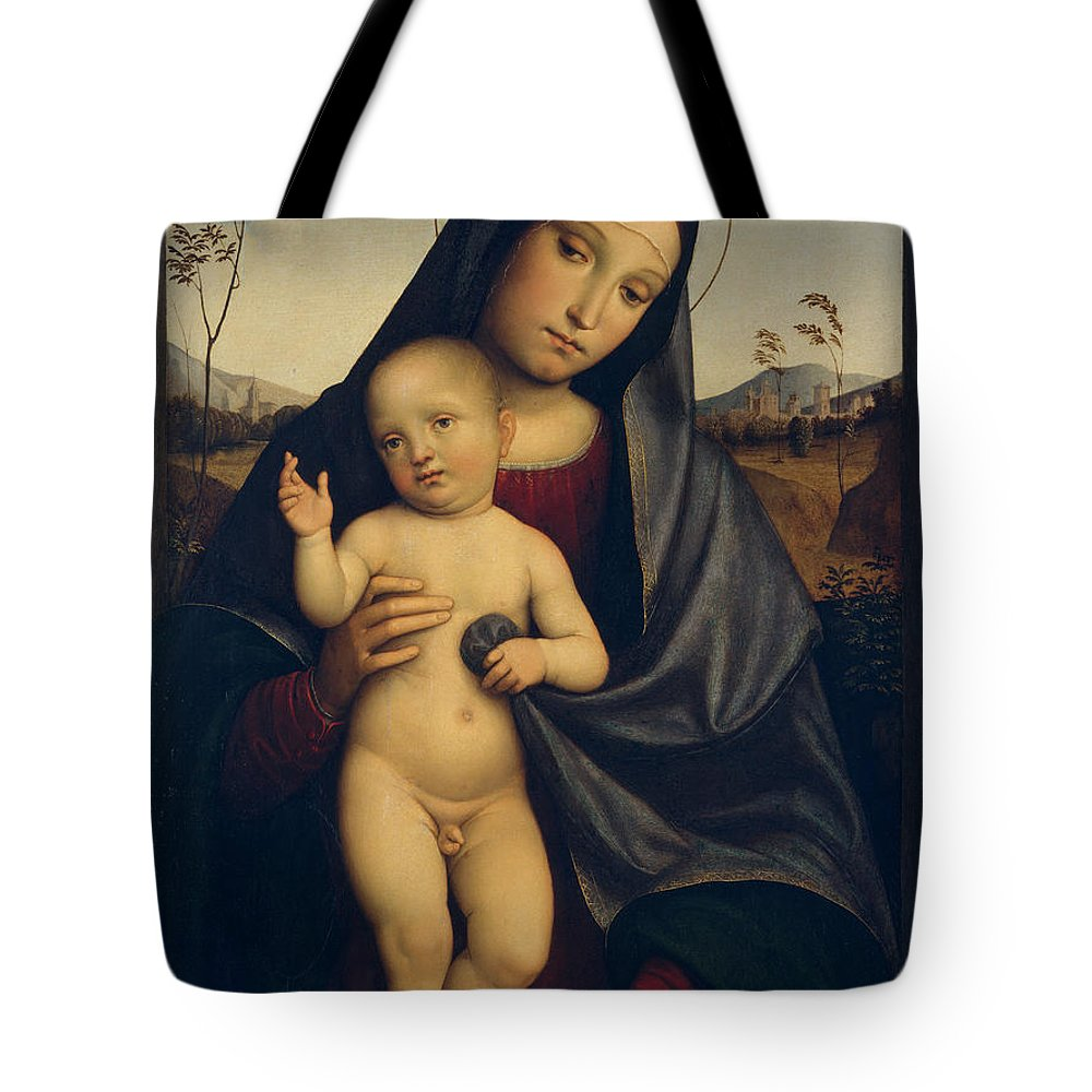 Francesco Francia Tote Bag featuring the painting Madonna And Child by Francesco Francia