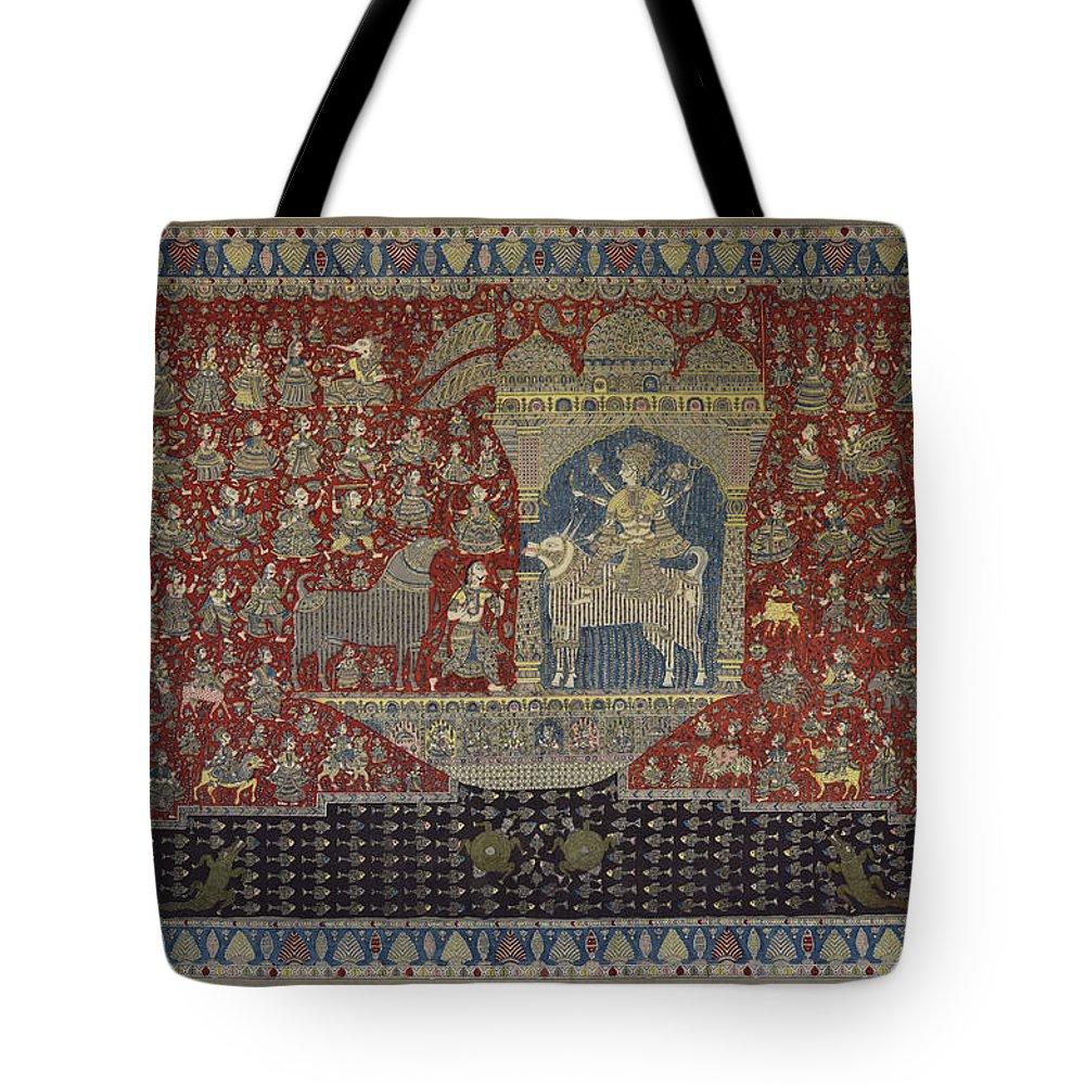 Tote Bag featuring the painting Mata Ki Pachedi by Kalamkari