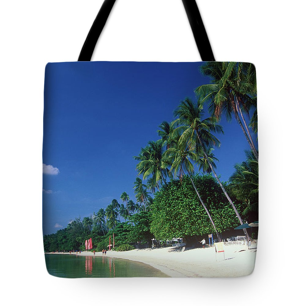 Water's Edge Tote Bag featuring the photograph Palm Trees At Sandy Chaweng Beach by Otto Stadler