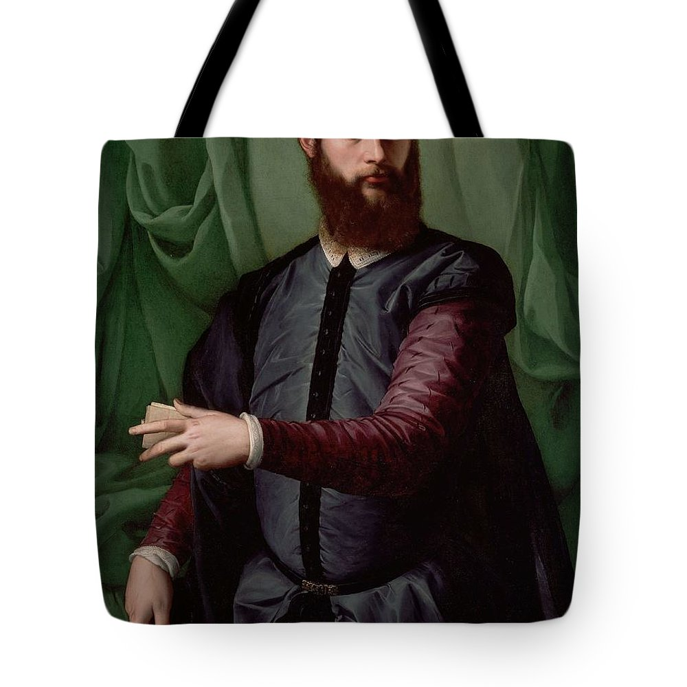Francesco Salviati Tote Bag featuring the painting Portrait Of A Man by Francesco Salviati