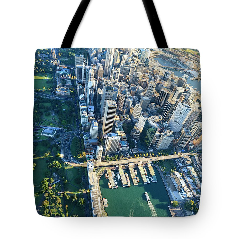 Shadow Tote Bag featuring the photograph Sydney Downtown - Aerial View by Btrenkel