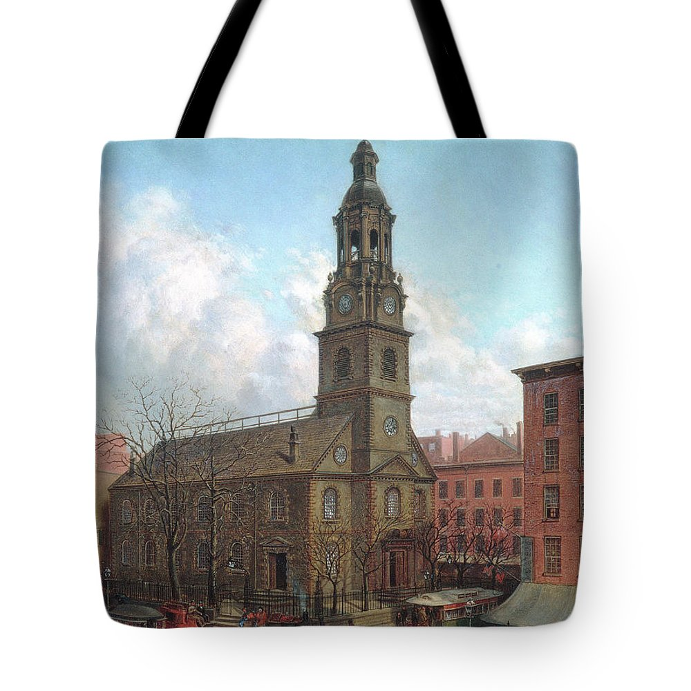 Edward Lamson Henry Tote Bag featuring the painting The North Dutch Church Fulton And William Streets New York by Edward Lamson Henry
