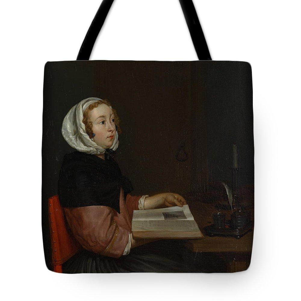 Eglon Van Der Neer Tote Bag featuring the painting The Reader by Eglon van der Neer