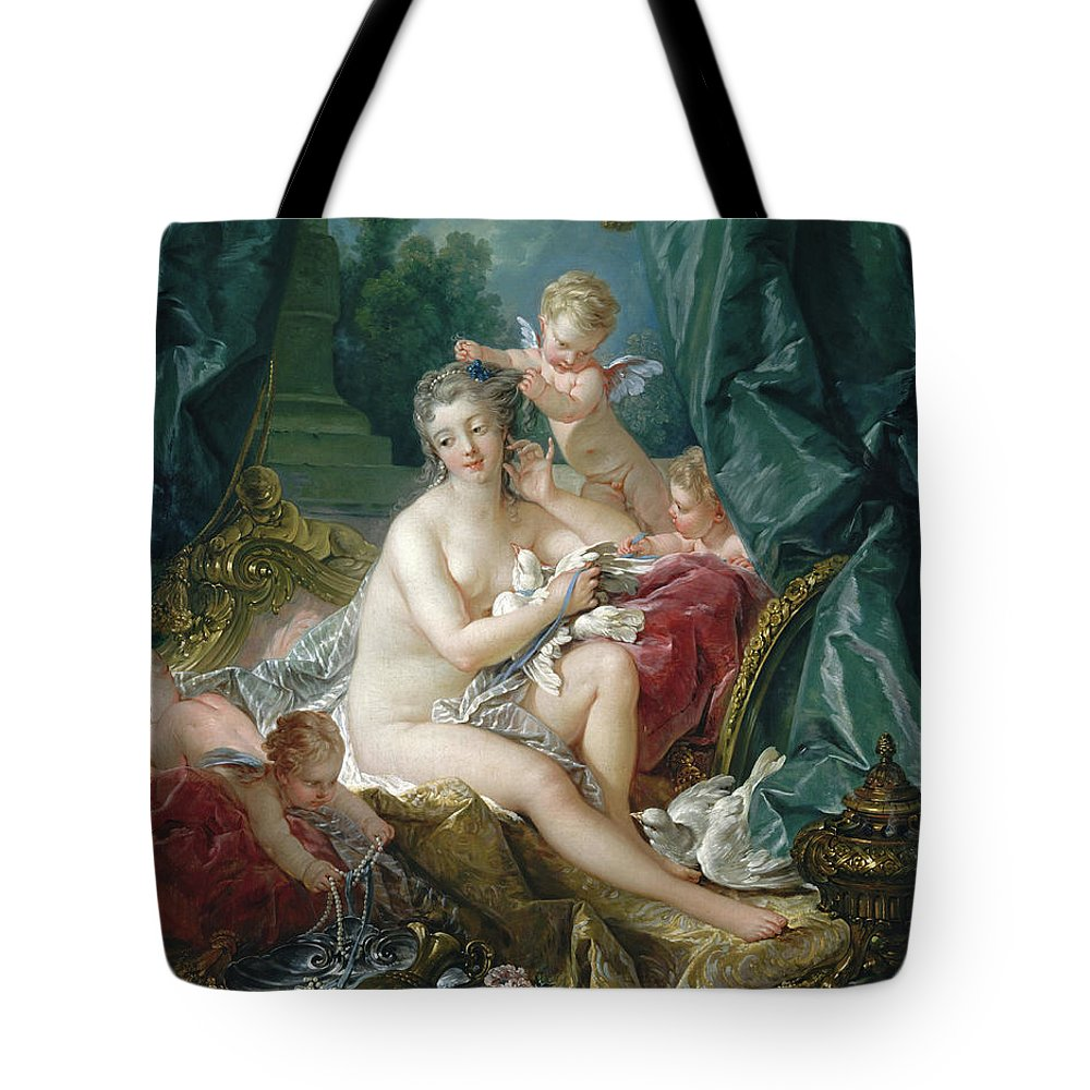 Francois Boucher Tote Bag featuring the painting The Toilette Of Venus by Francois Boucher