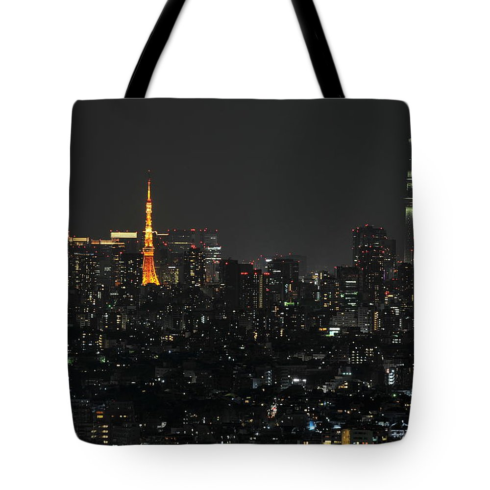 Tokyo Tower Tote Bag featuring the photograph Tokyo Tower And Tokyo Skytree by Masakazu Ejiri