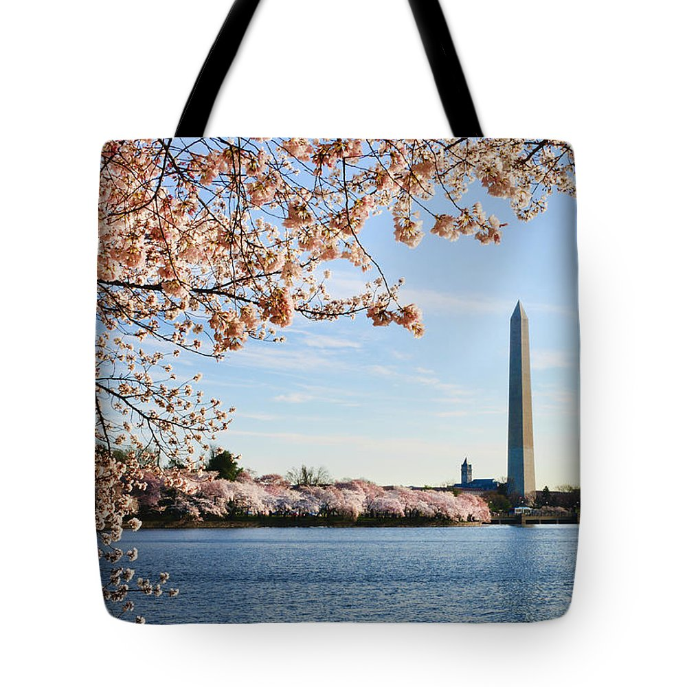 Tidal Basin Tote Bag featuring the photograph Washington Dc Cherry Blossoms And by Ogphoto