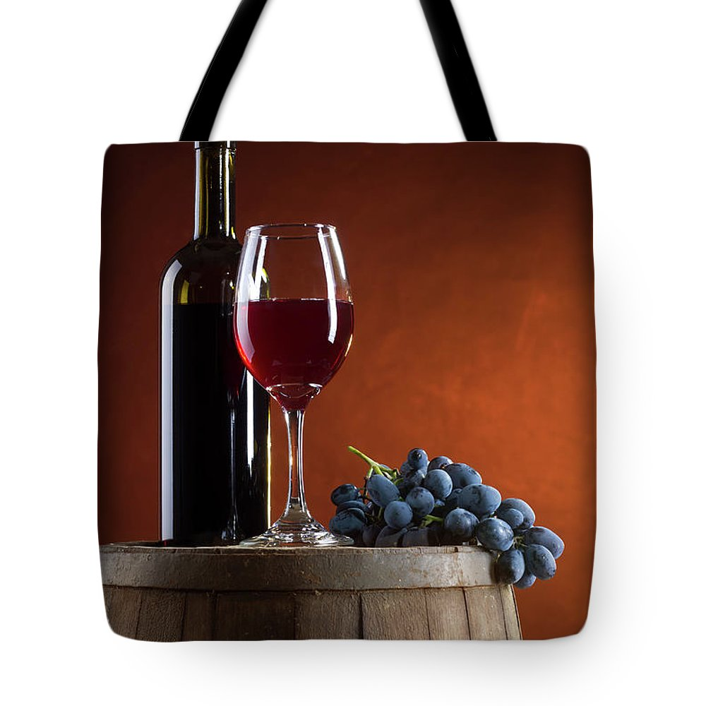 Rose Wine Tote Bag featuring the photograph White Wine Composition by Valentinrussanov
