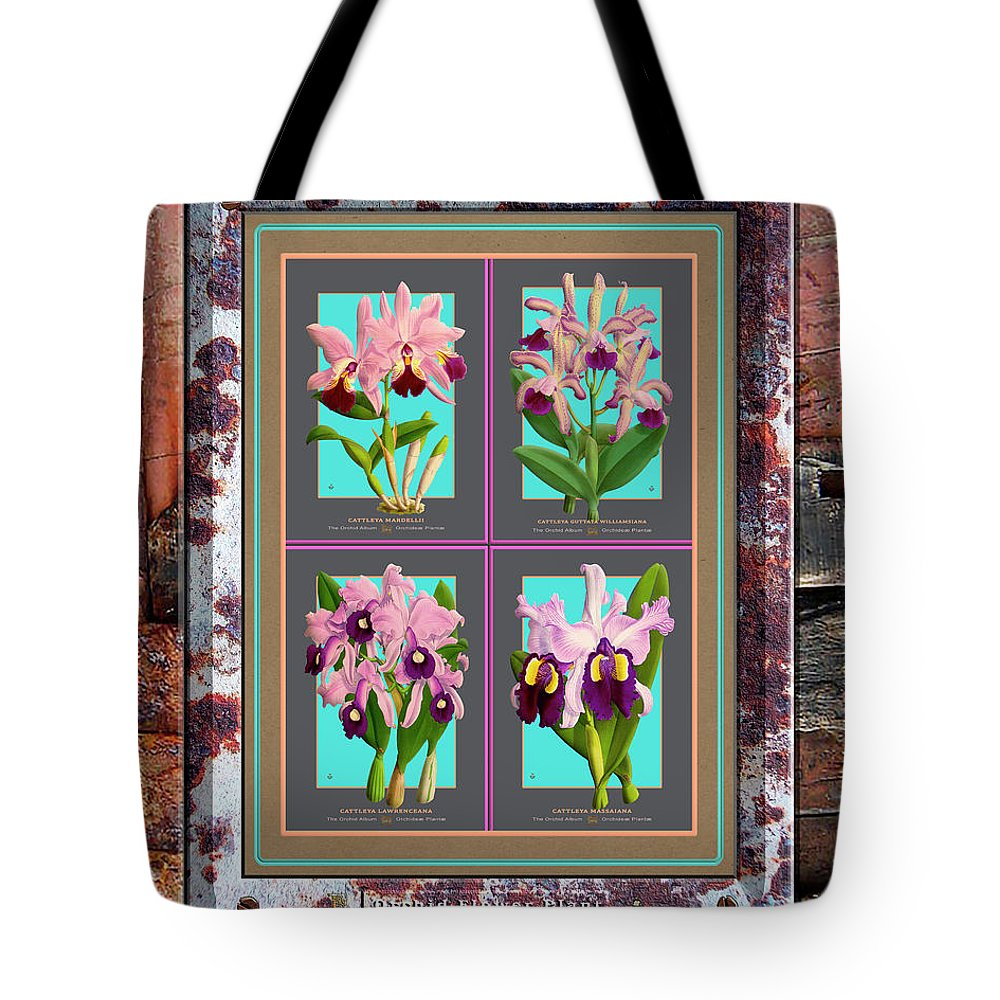 Vintage Tote Bag featuring the painting Antique Orchids Quatro On Rusted Metal And Weathered Wood Plank by Baptiste Posters