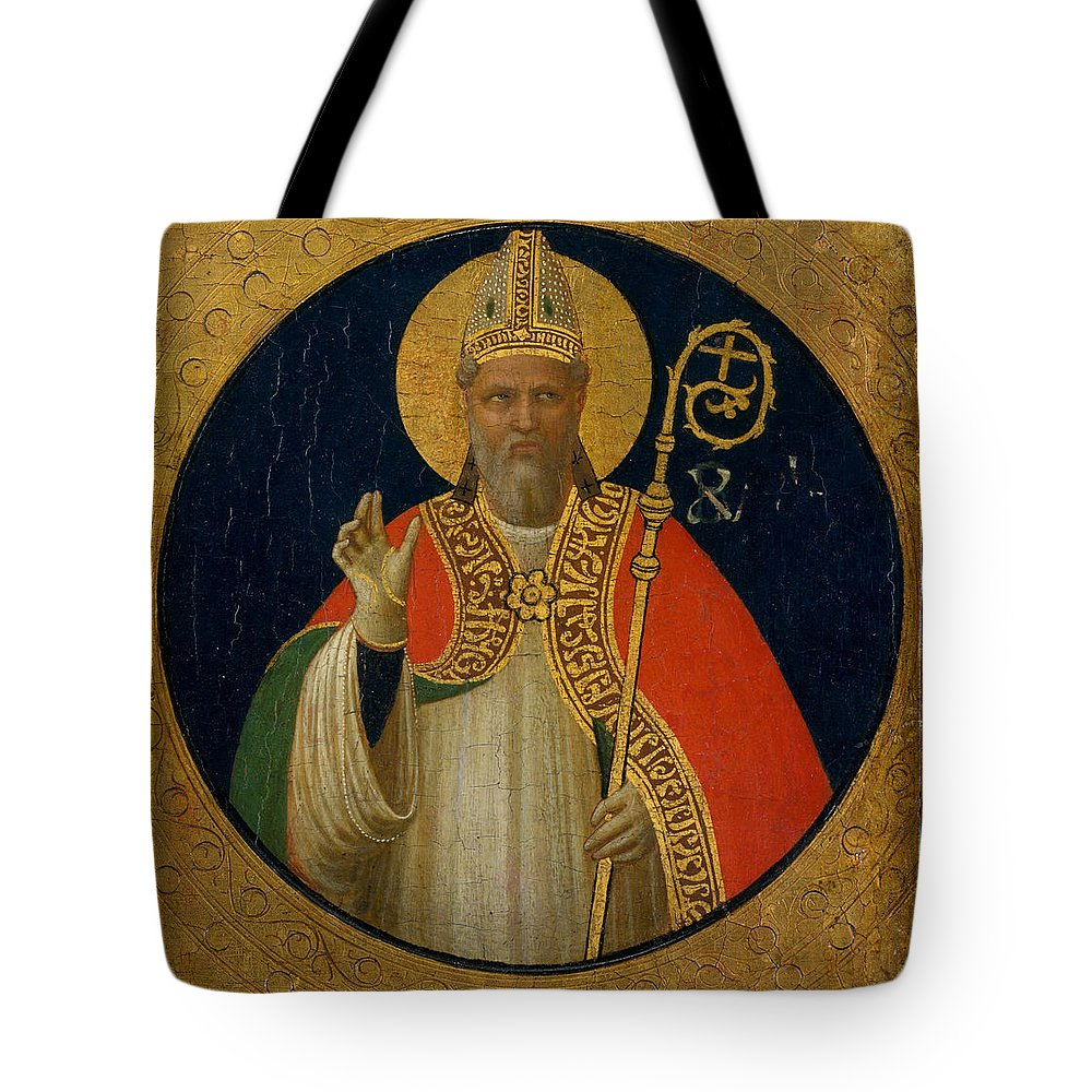 Fra Angelico Tote Bag featuring the painting A Bishop Saint by Fra Angelico