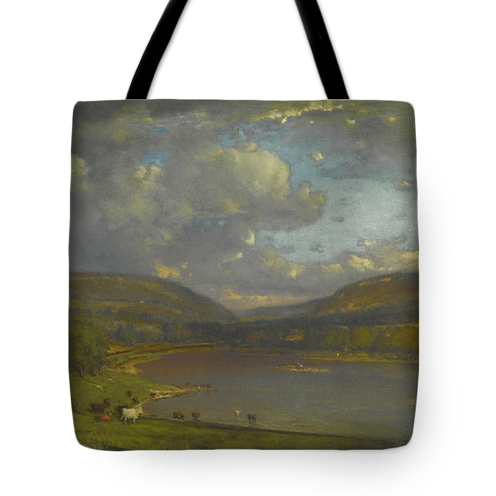 On The Delaware River Tote Bag featuring the painting On The Delaware River by George Inness