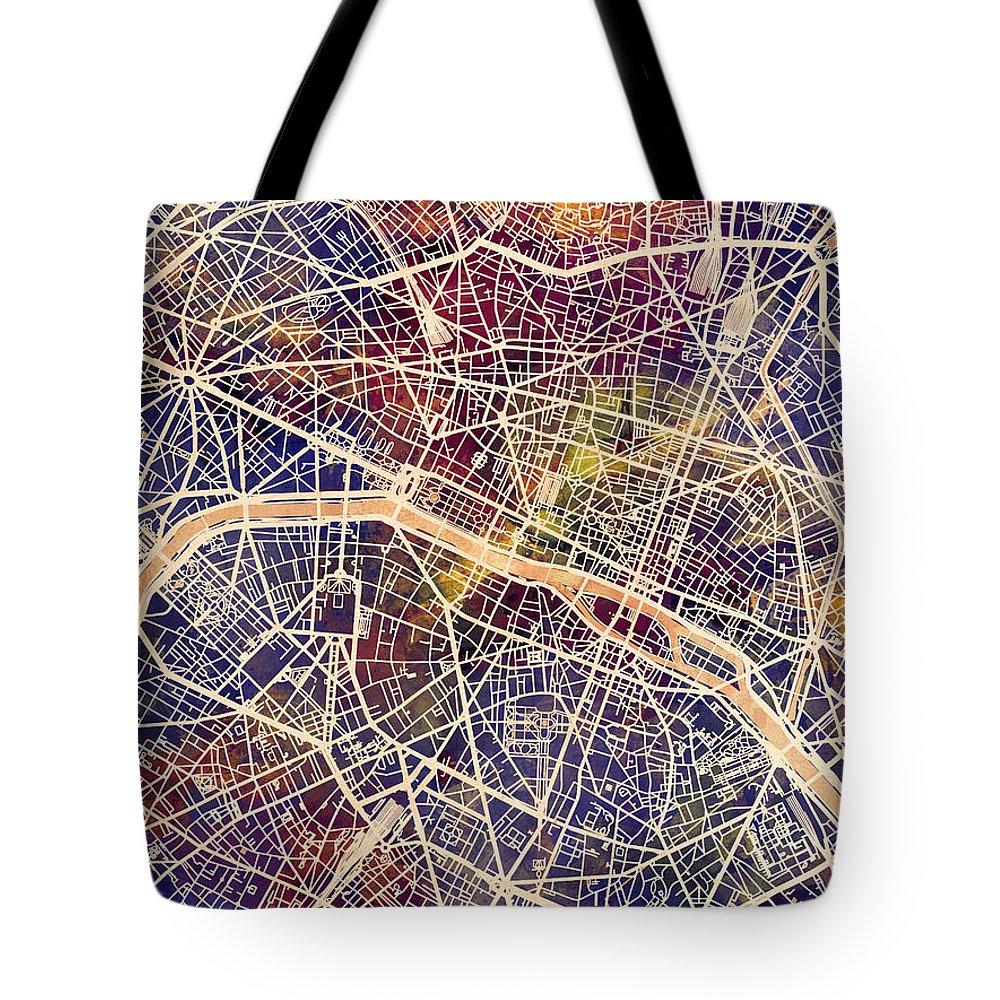 Paris Tote Bag featuring the digital art Paris France City Map by Michael Tompsett