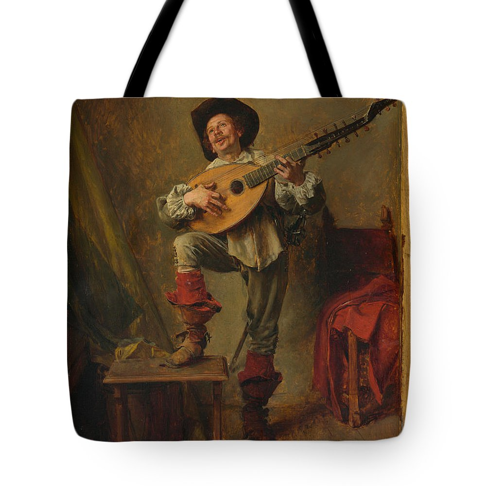 Ernest Meissonier Tote Bag featuring the painting Soldier Playing The Theorbo by Ernest Meissonier