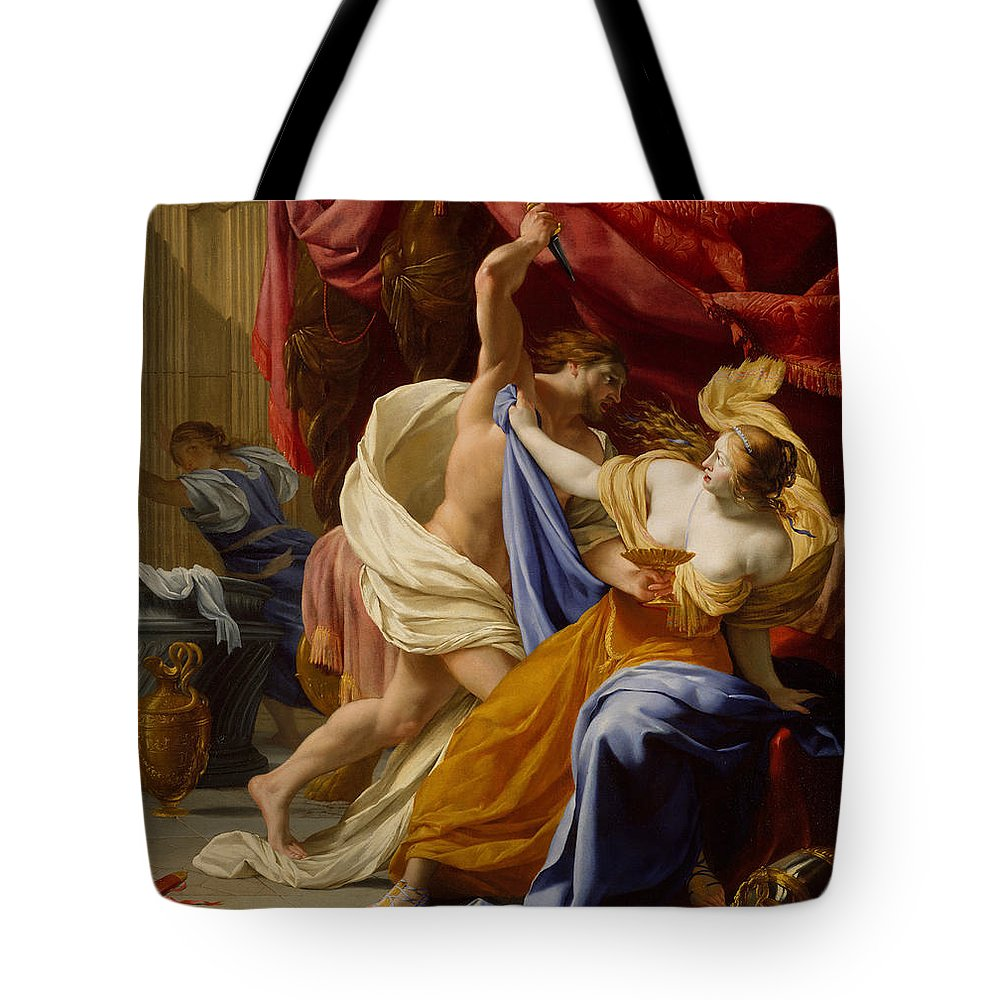Eustache Le Sueur Tote Bag featuring the painting The Rape Of Tamar by Eustache Le Sueur