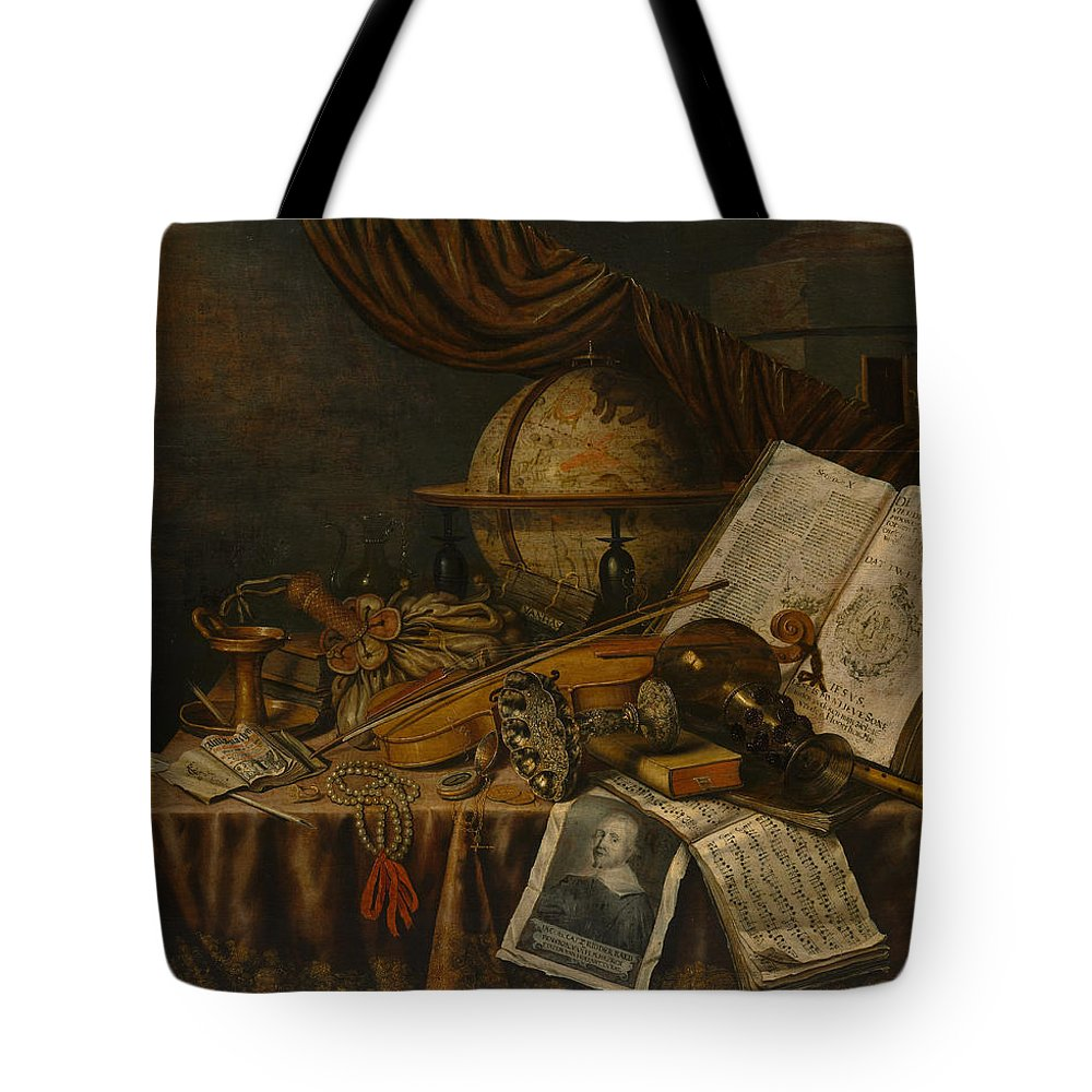 Edwaert Collier Tote Bag featuring the painting Vanitas Still Life by Edwaert Collier