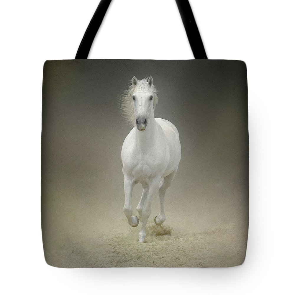 Horse Tote Bag featuring the photograph White Horse Galloping by Christiana Stawski