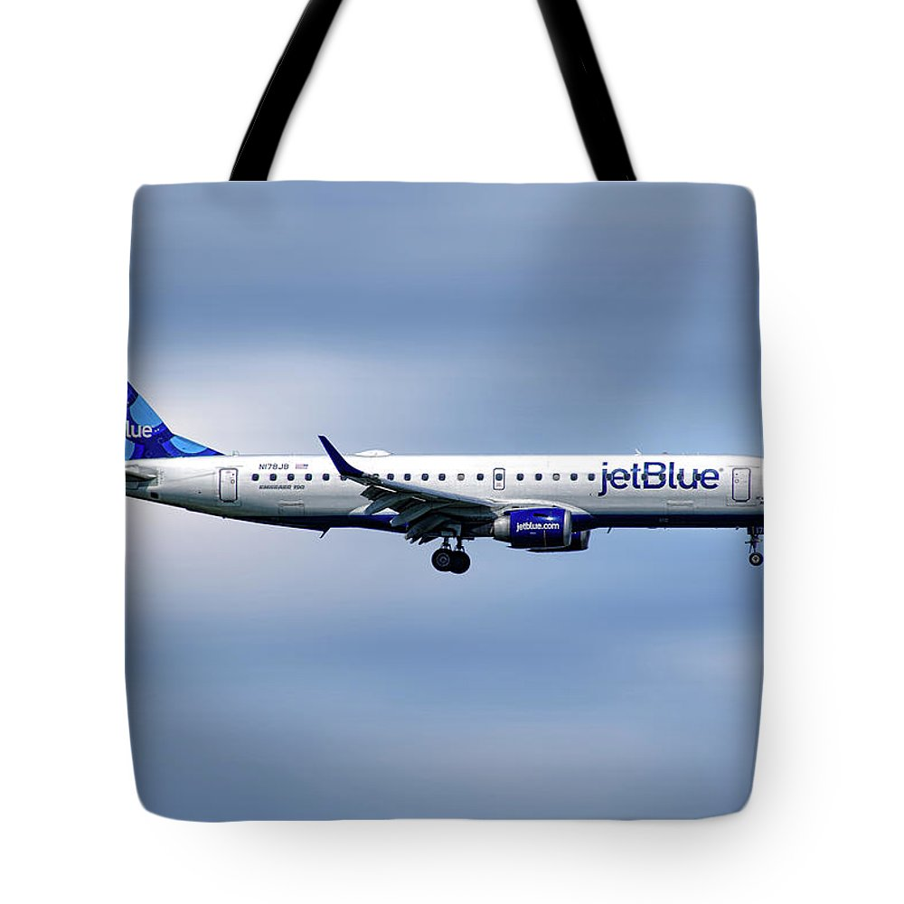 Jetblue Tote Bag featuring the mixed media Jetblue Airways Embraer Erj-190ar by Smart Aviation