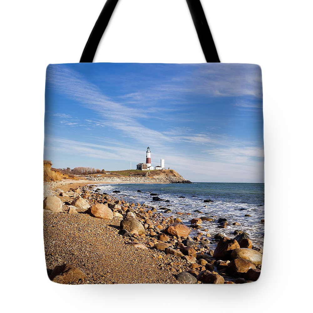 Headland Tote Bag featuring the photograph Lighthouse At Montauk Point, Long by Alex Potemkin