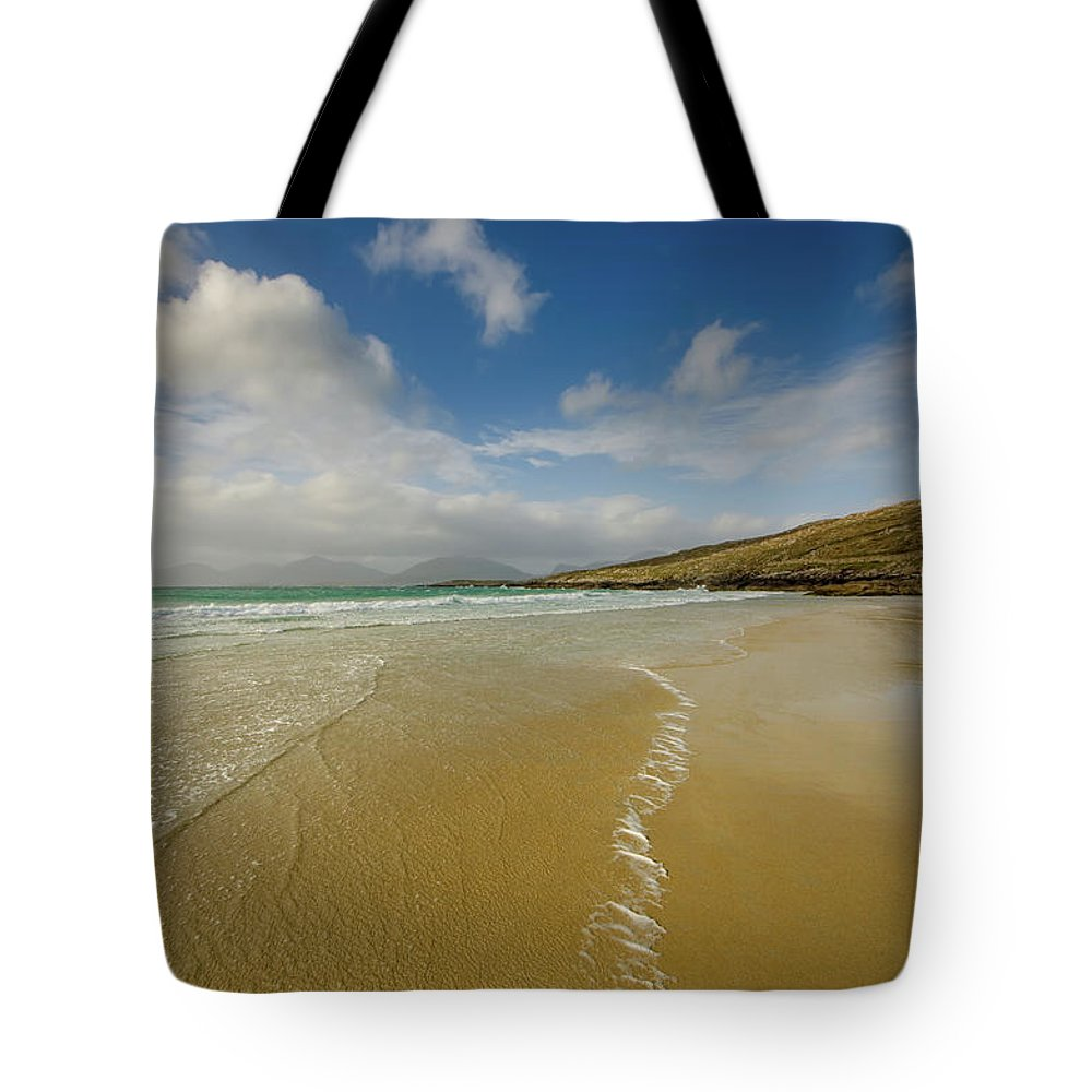 Luskentyre Beach Tote Bag featuring the mixed media Luskentyre 5 by Smart Aviation