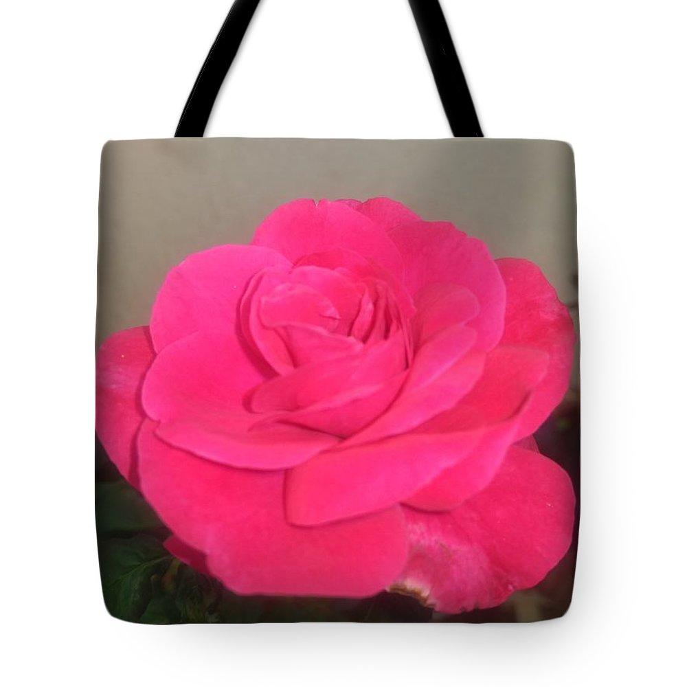 Tote Bag featuring the photograph Pink Rose by Nimu Bajaj and Seema Devjani
