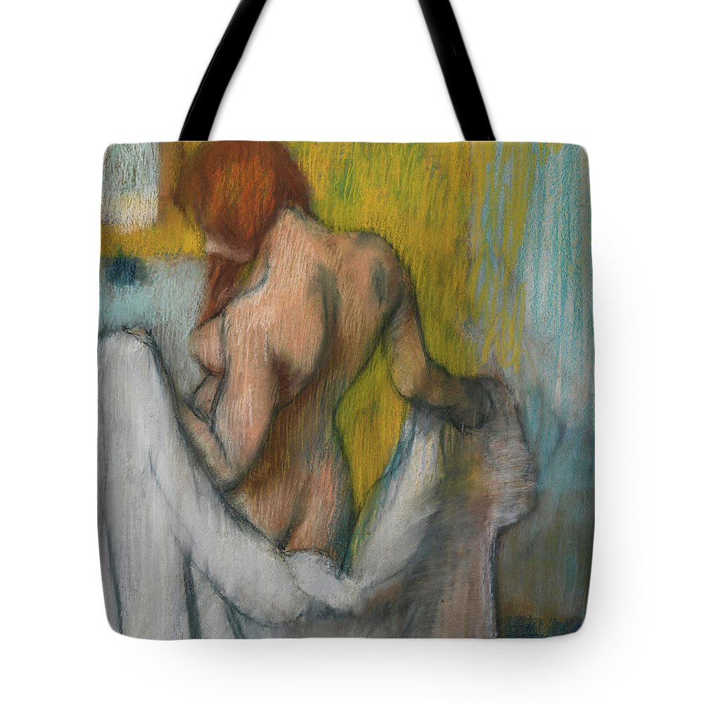 Edgar Degas Tote Bag featuring the painting Woman With A Towel by Edgar Degas