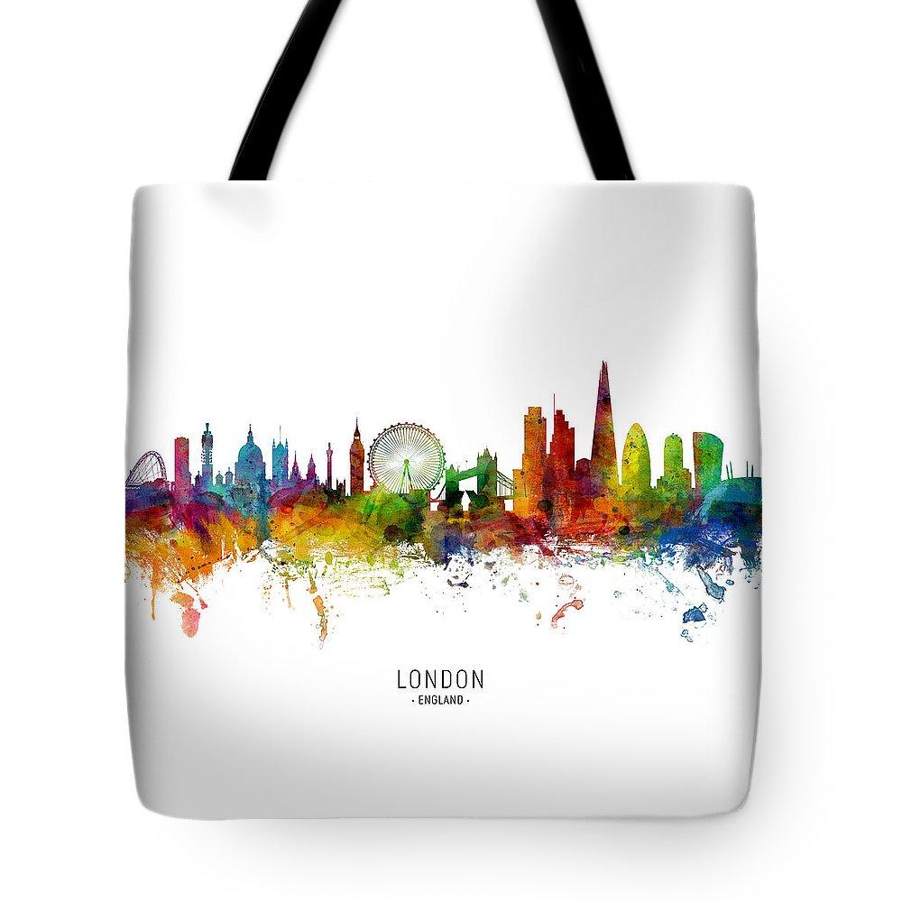 London Tote Bag featuring the digital art London England Skyline by Michael Tompsett